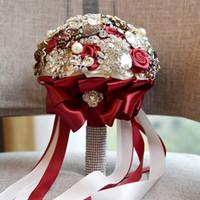 Lussuoso cristallo spilla da sposa Bouquet Artificiale Rose Fiori 2019 Sposa matrimonio bouquet maniglie Bling Bling da sposa Fiori