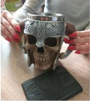 Drinkware 수제 두개골 머그잔 바이킹 램 경적 구덩이 주님 장식 해골 바 컵 전사 맥주 Stein Tankard 커피 잔 할로윈 스테인레스