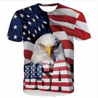 Новый дизайн женская / мужская прохладный США Орел смешные короткие рукава 3D печати футболка летний стиль повседневная футболка Бесплатная доставка