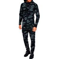Litthing Erkek Iki Parçalı Setleri Camo Baskılı Hoodies Kazak Pantolon Sportwear eşofman Takım Sonbahar Erkek Kamuflaj Üst Pantolon Set