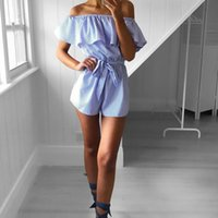 Women Playsuit Overalls Femininos Beach Slash Neck Jumpsuits...