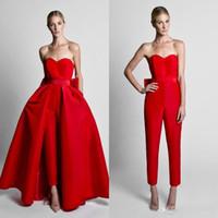 Krikor Jabotian Red Jumpsuits Evening Klänningar med Avtagbar Kjol Sweetheart Prom Kappor Byxor För Kvinnor Skräddarsy