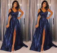 Royal Blue Side Split High Sexy Prom Dresses 2019 One Shoulder A Line Paillettes Backless Africano Plus Size Abiti da sera BC1111