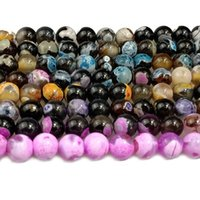 DOUBLE COLOR 6MM 8MM 10MM STRIPE AGATE Round Stone Beads For...