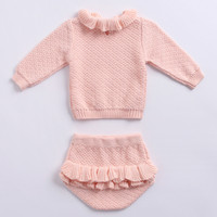 Pink Color Baby Girl Clothes Set Long Sleeve Ruffled Cotton ...