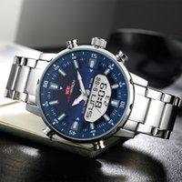 CWP KT 2021 мужские часы с двойным дисплеем из нержавеющей стали, водонепроницаемый 3D-циферблат аналоговый цифровой хронограф мужской спортивный стиль KT1815