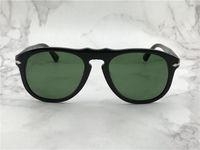 Mode-Design-Sonnenbrillen 649 Klassischer Retro-Pilot-Rahmen Glaslinse UV400 Schutzbrillen mit Ledertasche