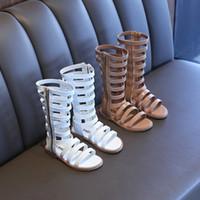 Neue Mädchen Sandalen Sommer PU Leder Gladiator Hohlstiefel Kinder Schuhe Kinder Mode Schuhe Designer Sandalen
