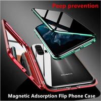 Adsorption magnétique flip Confidentialité Pour Huawei cas P30Pro MATE20 Samsung M30 Xiaomi Remi note8Pro 360 Verre Trempé Antispy Couverture arrière