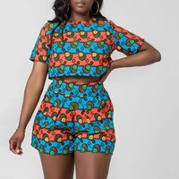 Kadınlar Afrikalı Giyim 2 adet Seti (Tops + Şort) Kadınlar Geleneksel Giyim Yaz Casual Afrika Elbiseler