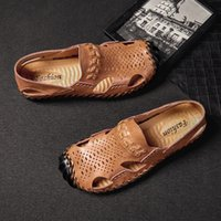 Cow Split Leather Sandals Men Shoes Mens Sandles Summer Slip...