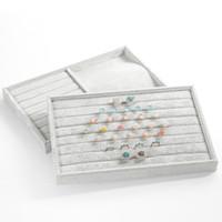 Portable de la manera joyería del terciopelo anillo exhibición de la joyería bandeja de la caja del sostenedor del organizador pendiente de la joyería de almacenamiento caja de escaparate