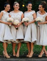 Knee Length Plus size Bridesmaid Dresses Country Scoop Neck ...