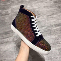 2019 high- top casual sneaker Inlaid with water drill mens Gl...