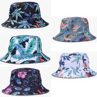 Мода для детей взрослой шляпы шапки шляпы 3D Зеленый Цветы Аннотация печать Женщина Подростковой Рыбацкой Unisex шляпы