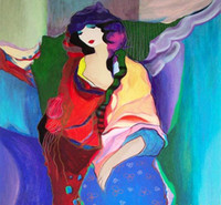 Itzchak Tarkay Figuração Acolhimento Obras Modern Senhora Retrato Pintura a óleo Handmade na lona côncavas e convexas textura IT027