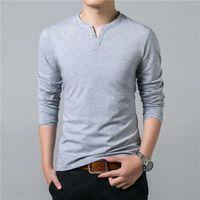 Imprimer T-shirt Hommes Printemps Eté manches longues col Henry T Shirt Hommes Marque doux pur coton Slim Fit T-shirt en coton tendance