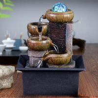 Geschenke Desktop Wasserbrunnen Tragbare Tischplatte Wasserfall Kit Beruhigende Entspannung Zen Meditation Lucky Fengshui Home Decorations T200330