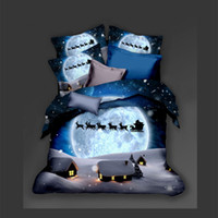 Christmas Eve Bedding Set King Fantasy Sled Snowflake 3D Duv...