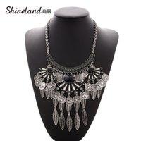 Ketten Shineland Vintage ethnische Zigeuner tibetanisches Großmetall-Lätzchen-Übertreibung Geometrische Quaste-Münze Blätter Halsketten Anhänger für Frauen