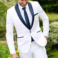 2019 Traje para hombre Blanco con Negro mantón de la solapa del padrino de juego de la chaqueta + pantalones por encargo del smoking del novio mejor juego del hombre para la boda