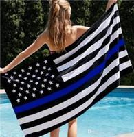 DHL frei Blue Line USA Polizei Flags 3x5 Fuß Thin Blue Line USA Flagge Schwarz Weiß Blau amerikanische Flagge mit Messingösen 90x150cm
