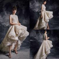 2020 krikor jabotian hohe tiefe brautkleider juwel neck spitze appliziert perlen luxus brautkleider stufte röcke nach Maß gefertigter Hochzeitskleid