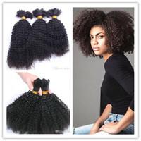 ブラジル人の人間の処女の変態カーリーフルエンドヘアバルク編み毛髪の伸びが未処理の巻き毛の自然な黒い色の人間の拡張