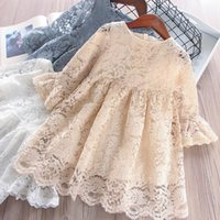 2019 New Spring Girls Dresses Kids Hollow Out Lace Flare Sle...