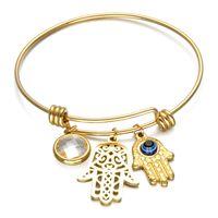 Neue Luxus-Designer-Edelstahl-Frauen Fatima Hand Charm-Armband-Armband Weihnachten Armbänder Schmuck Geschenke für Frauen-Mädchen-Großhandel