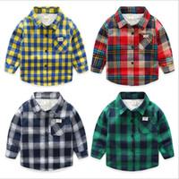 Ropa para niños bebés Niños Camisas a cuadros Niño Grid Fleece Camiseta Moda Blusas casuales Compruebe algodón solapa Tops Diseñador de manga larga Tees B5077