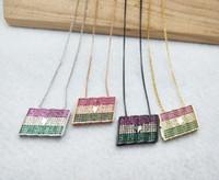 Welt Flagge Micro Pave Kristall Zirkonia Anhänger Charms Schmuckzubehör, Ghana Flagge Halskette für Frau NK344