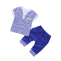 di buona qualità Estate Neonati maschi che coprono Set bambini Tops a righe + pantaloni Tuta sportiva Toddler Boys Clothes Set Kids Outfits Sets