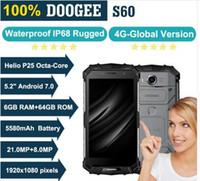 DOOGEE S60 6GB RAM 64GB ROM MTK Helio P25 옥타 코어 안드로이드 7.0 5.2 'FHD 스크린 IP68 Waterprrof 스마트 폰 21.0MP 5580mAh 휴대 전화