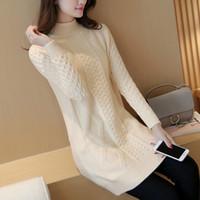 2018 nuevas mujeres primavera otoño invierno espesar jersey de cuello alto  suéteres de punto mujeres largos 64dbffef3ce8
