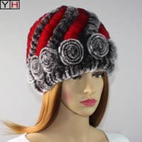 Einzelhandel Großhandel Natur Pelz Hüte mit Streifen-Entwurfs-Frauen-Winter-warmen Echtpelzmützen Mode Hut