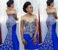 2019 Royal Blue Gold Appliqued Sereia Prom Noite Vestidos Sexy Off Black Menina Preta Formal Vestido de Partido Plus Size Pageant Vestidos Personalizado