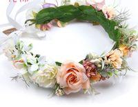 子供の日のページェントクラウンヘッドバンドボヘミアスタイルの女の子シミュレーション花の花輪ブライダルステレオ花ビーチホリデーガーランドF6427