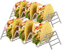 Из нержавеющей стали Taco стенд держатель 2 Держатели металлической проволоки Лоток для сервировки Up Soft Hard Shell Foodsafe Taco Лотки отлично подходит для детей или Сторон