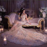 2020 Nuovo Abiti da sposa con collo alto a manica lunga Sirena Bling Treno lungo Nigeria Robe de Mariée Abiti da sposa Dubai Vendita