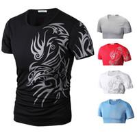 Hot Nova marca de moda camisas de T para T Shirt Men 's Men novidade Dragão Impressão Tatoo Masculino O Neck camisetas