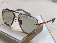 Gafas de sol cuadradas 121 Lente gris claro de oro de rosa 62mm Gafas de sol Gafas de sol Unisex Gafas de sol Hombres Sombras Gafas Nuevo con caja