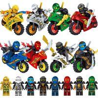 ile uyumlu Motosiklet Kai Jay Zane Cole Lloyd Altın Ninja Silah Kılıç Mini Oyuncak Action Figure Yapı Taşı Tuğla Toy ile 8pcs Ninja