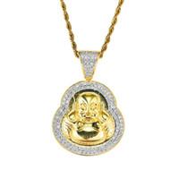 الهيب هوب مايتريا بوذا الماس قلادة القلائد للرجال النساء البوذية الدين الفاخرة قلادة الذهب الحقيقي مطلي النحاس الزركون
