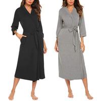 Sleepwear feminino 2021 mulheres sexy v pescoço de algodão mistura longas vestes roupas de roupa interior lingerie vestido de banho com cinto sem corda g