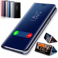 Tam Koruma Akıllı Görünüm Ayna Çevirme Deri Telefon Kılıfı Kapak Için Samsung Galaxy S10 S9 S8 S7 S6 A30 A40 A50
