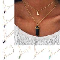 Collar Joyería Barato Cristales de curación Amatista Rosa Cuarzo Grano Chakra Punto de curación Mujeres Hombres Piedra Natural Luna Colgantes Collares
