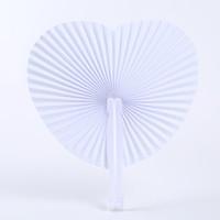 Kalp Yuvarlak Şekilli Katlanır Kağıt Fan DIY Beyaz Boş El Düğün Yıldönümü Parti Hediyeleri için Fan Düzenlendi