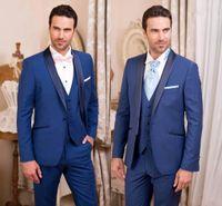 고급스러운 잘 생긴 로얄 블루 턱시도 슬림핏 남성 웨딩 정장 하나 개의 버튼 신랑 착용 세 조각 정장 한 벌 (재킷 + 바지 + 조끼) HY6015