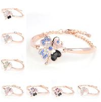 moda cristallo Four Leaf Clover bracciali bracciale bangle lettera amore fascino diamante gioielli ispiratori per le donne ragazze regalo fortunato